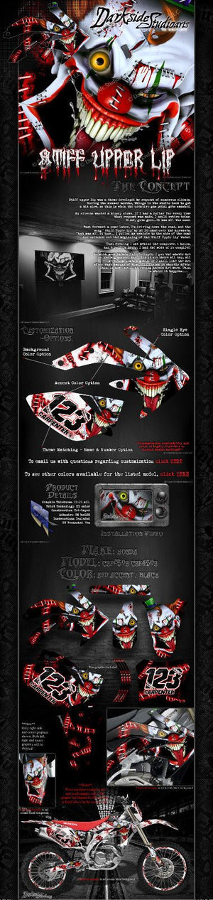 "HONDA 2009-2016 CRF250 CRF450 GRAPHICS DECALS WRAP ""STIFF UPPER LIP"" CRF450R - Darkside Studio Arts LLC."
