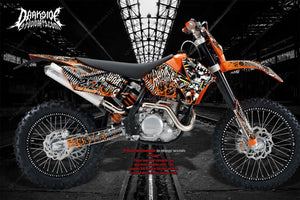 """WAR MACHINE"" GRAPHICS WRAP FITS KTM 1998-2007 XCW 250EXC 300 450 525 - Darkside Studio Arts LLC."