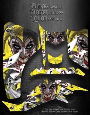 "SUZUKI LTZ400 Z400 2003-2008  ATV GRAPHICS ""THE JESTERS GRIN"" YELLOW MODEL - Darkside Studio Arts LLC."