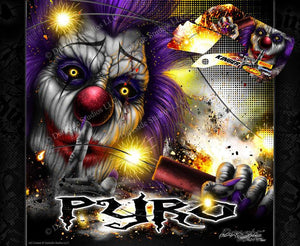 "KAWASAKI 2003-2006 KDX50 ""PYRO"" CRAZY CLOWN GRAPHICS WRAP DECALS - Darkside Studio Arts LLC."