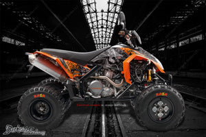 """MACHINEHEAD"" GRAPHCIS WRAP DECALS FITS KTM 450XC 525XC 450SX 525SX - Darkside Studio Arts LLC."
