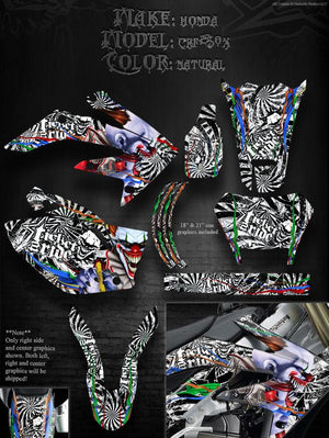 "HONDA 2004-2012 CRF250X 250X GRAPHICS ""TICKET TO RIDE"" RIM DECALS FITS OEM PARTS - Darkside Studio Arts LLC."