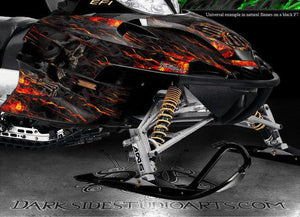 "ARCTIC CAT ""HELL RIDE"" WRAP GRAPHICS DECALS KIT FIRECAT F5 F6 F7 CROSSFIRE 03-06 - Darkside Studio Arts LLC."