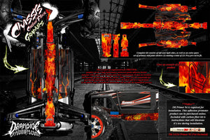 TRAXXAS E-REVO SUMMIT CHASSIS 'HELL RIDE' HOP UP GRAPHICS FITS OEM PARTS FLAMES - Darkside Studio Arts LLC.