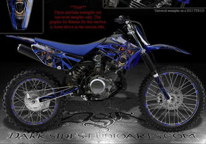 "YAMAHA TTR110 GRAPHICS KIT ""THE DEMONS WITHIN"" RIM DECALS 2009 2010 11 - Darkside Studio Arts LLC."