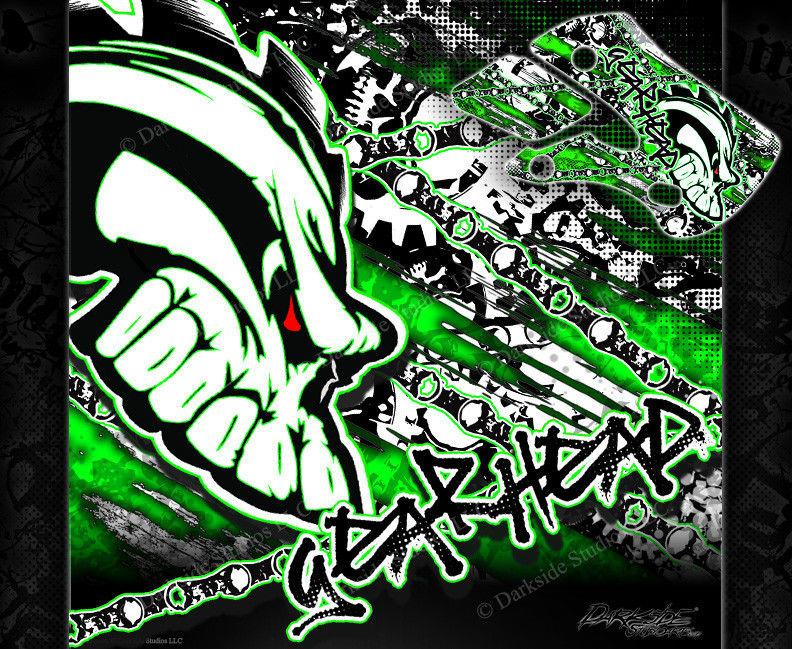 "KAWASAKI 2003-2006 KDX50 ""GEAR HEAD"" SKULL GRAPHICS WRAP DECALS - Darkside Studio Arts LLC."