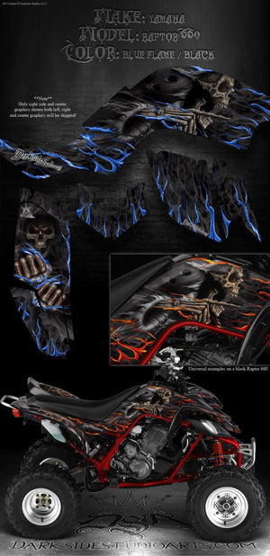 "YAMAHA RAPTOR 660 GRAPHICS DECALS KIT FIT OEM PARTS ""HELL RIDE"" NATURAL / BLACK - Darkside Studio Arts LLC."