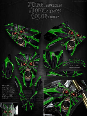 "KAWASAKI 2009-2012 KX250F KXF250 GRAPHIC KIT ""THE DEMONS WITHIN"" FOR OEM PLASTIC - Darkside Studio Arts LLC."