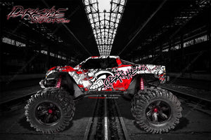"TRAXXAS X-MAXX GRAPHICS WRAP DECALS ""GEAR HEAD"" FITS PROLINE FORD RAPTOR, BRUTE BASH & STOCK BODY - Darkside Studio Arts LLC."