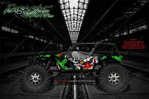 "AXIAL RR10 BOMBER GRAPHICS WRAP DECALS ""STIFF UPPER LIP"" RED AND BLACK SKIN - Darkside Studio Arts LLC."