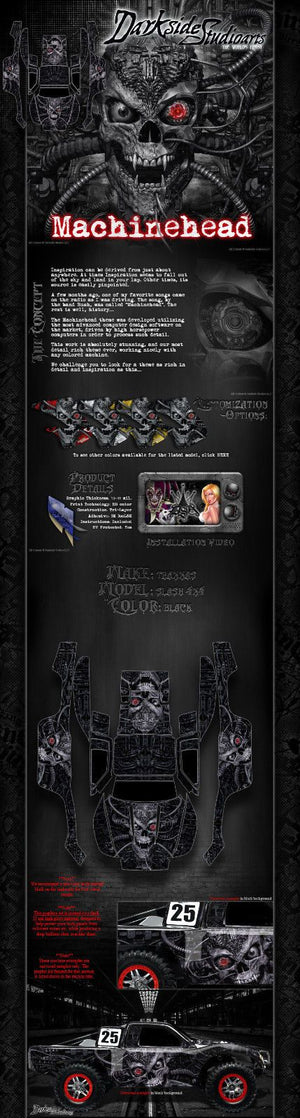 "TRAXXAS SLASH 4X4 GRAPHICS WRAP DECALS ""MACHINEHEAD"" FITS OEM BODY PARTS - Darkside Studio Arts LLC."
