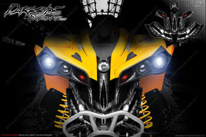 CAN-AM RENEGADE FRONT BUMPER SKULL GRAPHICS DECAL WRAP KIT 2012-2018 NATURAL - Darkside Studio Arts LLC.