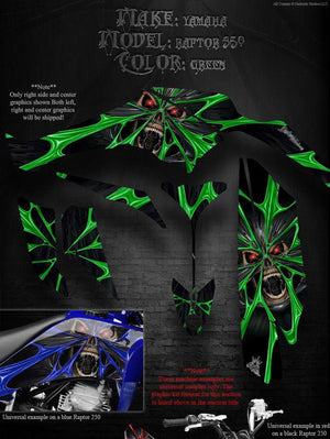 "YAMAHA RAPTOR 350 GRAPHICS GREEN ACCENTS DECALS WRAP KIT ""THE DEMONS WITHIN"" - Darkside Studio Arts LLC."