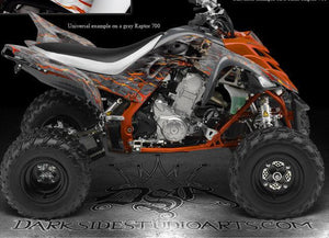 "YAMAHA 2006-2012 RAPTOR 700 ""HELL RIDE"" NATURAL /  WHITE GRAPHICS FOR OEM FENDER - Darkside Studio Arts LLC."
