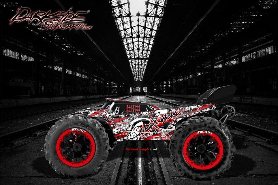 "REDCAT RACING TR-MT8E WRAP GRAPHICS DECALS ""GEARHEAD"" FITS OEM BODY PARTS RED - Darkside Studio Arts LLC."
