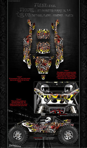 "AXIAL YETI MONSTER BUGGY XL GRAPHICS WRAP ""THROTTLE JUNKIE"" FITS OEM PARTS - Darkside Studio Arts LLC."