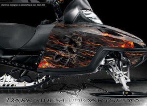"ARCTIC CAT M-SERIES M8 M7 WRAP DECALS ""HELL RIDE"" KIT FLAMES 2006-2011 GRAPHICS - Darkside Studio Arts LLC."