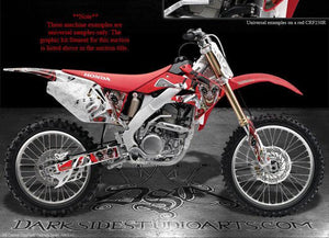 "HONDA 2004-2009 CRF250 CRF250R GRAPHICS KIT ""THE JESTERS GRIN"" FOR RED PARTS - Darkside Studio Arts LLC."