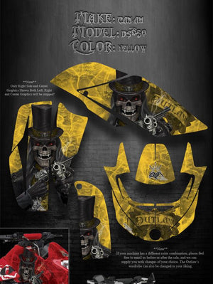 "CAN-AM DS650 GRAPHICS FOR YELLOW PLASTICS ""THE OUTLAW"" PARTS DECAL STICKER KIT - Darkside Studio Arts LLC."