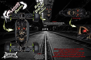 LOSI TEN-SCBE 'DEMONS WITHIN' CHASSIS WRAP HOP UP DECALS FITS LOS231001 - Darkside Studio Arts LLC.
