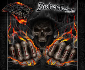 """HELL RIDE"" GRAPHICS WRAP DECAL KIT FITS KTM 2008-2016 SMR450 SMR525 SMR560 - Darkside Studio Arts LLC."