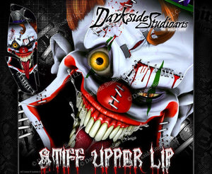 YAMAHA RAPTOR 660 (ALL YEARS) WRAP DECAL GRAPHIC SET KIT 'STIFF UPPER LIP' GRAY - Darkside Studio Arts LLC.