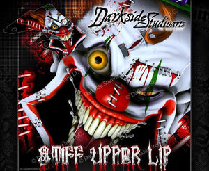 "HONDA 2000-2013 CR125 CR250 GRAPHICS WRAP ""STIFF UPPER LIP"" DECAL KIT CLOWN - Darkside Studio Arts LLC."