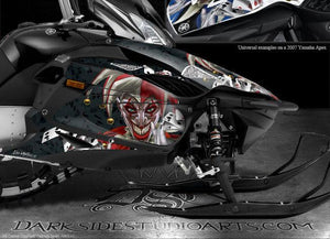 "YAMAHA APEX 2006-2010 HOOD SIDE PANEL DECALS GRAPHICS WRAP ""THE JESTERS GRIN"" - Darkside Studio Arts LLC."
