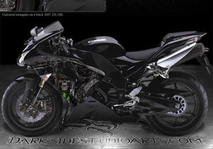 "KAWASAKI ZX-10R 2006-2007 ""THE OUTLAW"" GRAPHICS WRAP FOR BLACK FAIRING PARTS - Darkside Studio Arts LLC."