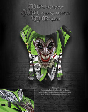 "ARCTIC CAT F7 03-06 GREEN HOOD GRAPHICS DECALS SABERCAT ""THE JESTERS GRIN"" F5 F6 - Darkside Studio Arts LLC."