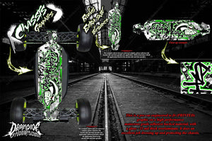 LOSI 8IGHT-T 4.0 CHASSIS WRAP 'GEAR HEAD' HOP UP DECAL SET FITS OEM PARTS GREEN - Darkside Studio Arts LLC.