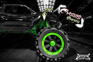 TRAXXAS X-MAXX CHASSIS / SHOCK TOWER HOP UP 'MACHINEHEAD' GRAPHICS DECALS GREEN - Darkside Studio Arts LLC.