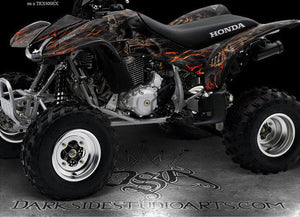 "HONDA 2001-2005 TRX250EX GRAPHICS WRAP ""HELL RIDE"" FOR OEM PARTS FENDERS - Darkside Studio Arts LLC."