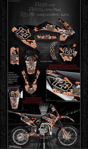 """LUCKY"" GRAPHICS WRAP FITS KTM 2016-2017 SX50 SX65 KTM65 KTM50 - Darkside Studio Arts LLC."