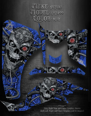 "SUZUKI 03-08 Z400 LTZ400 QUADSPORT BLUE SKULL DECAL GRAPHICS ""MACHINEHEAD"" 04 05 - Darkside Studio Arts LLC."