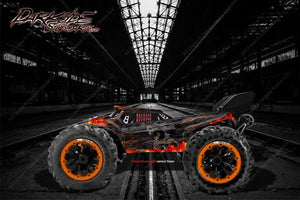 "REDCAT RACING TR-MT8E WRAP GRAPHICS DECALS ""HELL RIDE"" FITS OEM BODY PARTS - Darkside Studio Arts LLC."