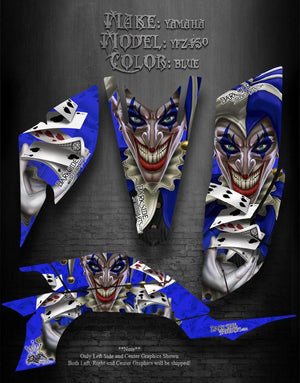 "YAMAHA YFZ450 ATV GRAPHICS ""THE JESTERS GRIN"" BLUE MODEL - Darkside Studio Arts LLC."