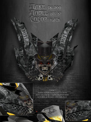 "SKI-DOO XP REV MXZ RENEGADE 08-12 ""THE OUTLAW"" HOOD GRAPHICS BLACK SUMMIT - Darkside Studio Arts LLC."