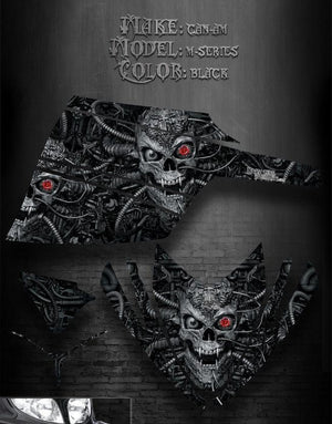 "ARCTIC CAT M-SERIES M7 M8 2006-2011 DECALS BLACK GRAPHICS ""MACHINEHEAD"" - Darkside Studio Arts LLC."