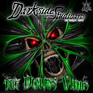 "ARCTIC CAT M-SERIES M8 M7 06-11 GREEN HOOD GRAPHICS ""THE DEMONS WITHIN"" WRAP - Darkside Studio Arts LLC."