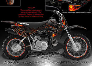 "HONDA 2004-2012 CRF70 DECALS WRAP ""HELL RIDE"" INCLUDES RIM GRAPHICS SET 05 09 11 - Darkside Studio Arts LLC."