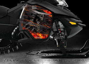 "SKI-DOO 2013-2015 XM REV SUMMIT ""HELL RIDE"" SIDE PANEL GRAPHICS WRAP FREERIDE - Darkside Studio Arts LLC."