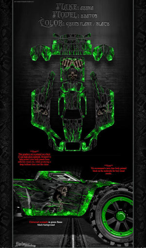 "ARRMA KRATON GRAPHICS WRAP DECALS ""HELL RIDE"" GREEN FLAME BLACK HOP UP KIT - Darkside Studio Arts LLC."