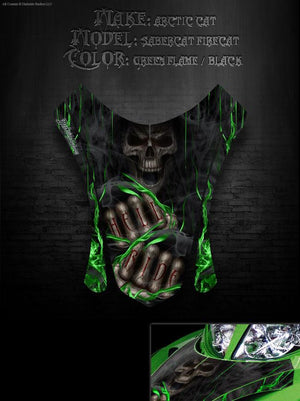 "ARCTIC CAT FIRECAT F5 F6 F7 2003-2006 HOOD PANEL WRAP GRAPHICS ""HELL RIDE"" - Darkside Studio Arts LLC."