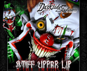 YAMAHA RAPTOR 660 (ALL YEARS) WRAP DECAL GRAPHIC SET KIT 'STIFF UPPER LIP' GREEN - Darkside Studio Arts LLC.