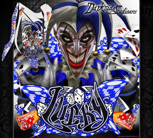 "YAMAHA RAPTOR 700 2013-2017 ""LUCKY"" GRAPHICS WRAP SKIN FULL COVERAGE BLUE WHITE - Darkside Studio Arts LLC."