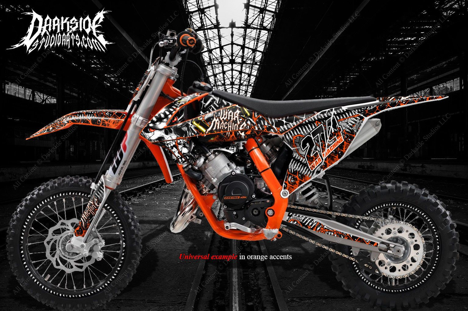 War machine graphics wrap fits ktm 2016 2018 sx50 sx65 ktm65 ktm50 darkside studio arts llc