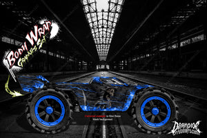 "ARRMA KRATON GRAPHICS WRAP DECALS ""HELL RIDE"" BLUE FLAME BLACK HOP UP KIT - Darkside Studio Arts LLC."
