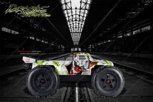 "ARRMA OUTCAST GRAPHICS DECALS ""STIFF UPPER LIP"" PALE GREEN / WHITE FITS OEM BODY - Darkside Studio Arts LLC."