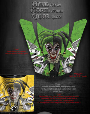 "CAN-AM SPYDER HOOD GRAPHIC KIT GREEN WRAP DECAL SET ""THE JESTERS GRIN"" BRP PARTS - Darkside Studio Arts LLC."
